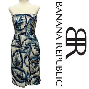 | Banana Republic | silk floral strapless dress